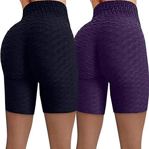 ZODOF Pack 2 Leggins Push Up Mujer Pantalones Cortos,Push Up Mujer Mallas Pantalones Deportivos Alta Cintura Elásticos Yoga Fitness Running Pantalones Transpirable Pantalones Cortos