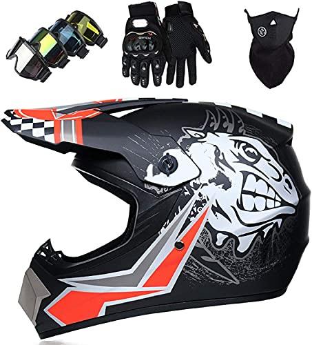 Casco Motocross Niño 5~12 Años ECE Homologado Casco Moto Integral Unisex para Moto Cross Descenso Enduro MTB Quad BMX Bicicleta (Gafas+Máscara+Guantes) (S)