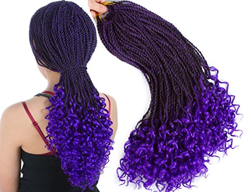 Senegalese Twist Crochet Hair Wave Curly Synthetic Braiding Braids Hair High Temperature Kanekalon Ombre Hair Extensions 6Packs 30Strands/Pack (18, T1B/PURPLE)… …