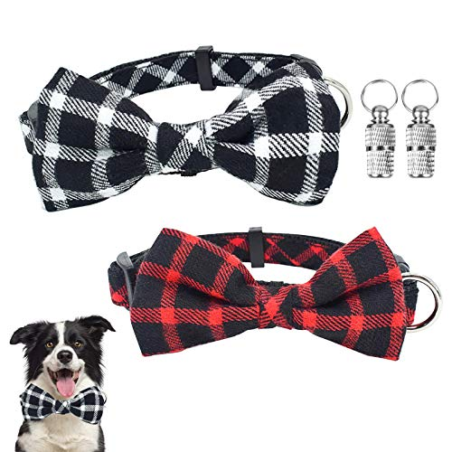 2 Packs Dog Collar with Bow tie & Pet ID Tags, Adjustable Classic Plaid Puppies Collar with Quick Release Buckle for Small Medium Dogs Cats Pets
