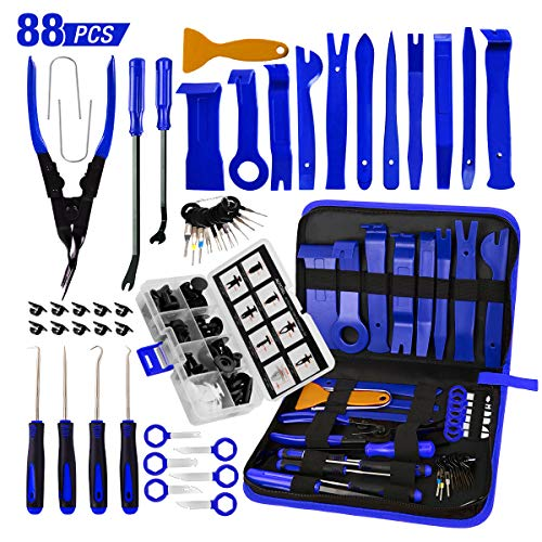 AUTOXEL 88 Pcs Trim Removal Tool,Auto Push Pin Bumper Retainer Clip Set Fastener Terminal Remover Tool Adhesive Cable Clips Pry Kit Car Panel Radio Removal Auto Clip Pliers, Blue