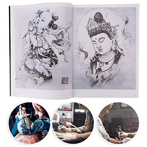 Ensemble de modèles de tatouage, pochoirs de tatouages, ensemble de modèles de tatouage réutilisable, 32 pages motif de Bouddha couleur tatouage livre tatouage pratique modèle livre accessoire