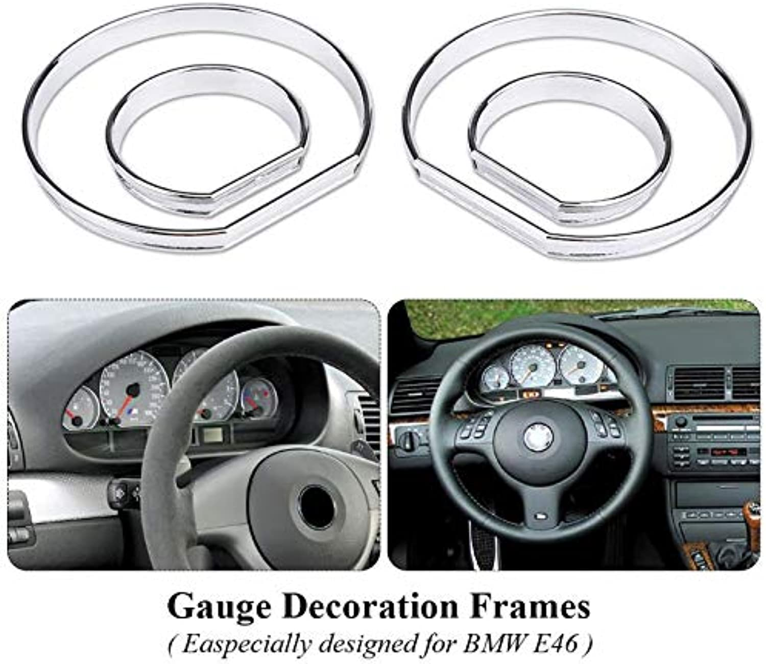 Gift4Car  4pcs Car Front Dashboard Speedometer Gauge Decoration Frame Dial Rings Trim for BMW E46