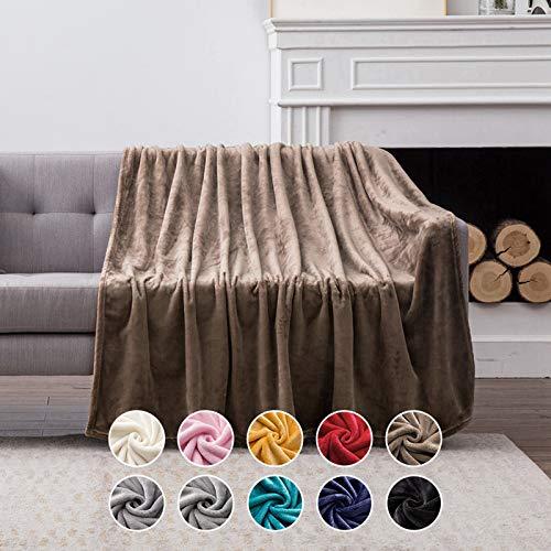 MIULEE Kuscheldecke Samt Decke Einfarbig Wohndecken Couchdecke Flauschig Überwurf Mikrofaser Tagesdecke Sofadecke Blanket Für Bett Sofa Schlafzimmer Büro 150x200 cm Braun