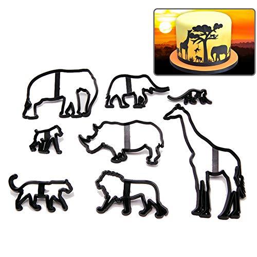 Juego de 8 moldes para galletas y galletas con forma de animales para fondant, decoración de tartas, modelado de galletas, diseño de leopardo, elefante, jirafa, león, plástico, 8 unidades