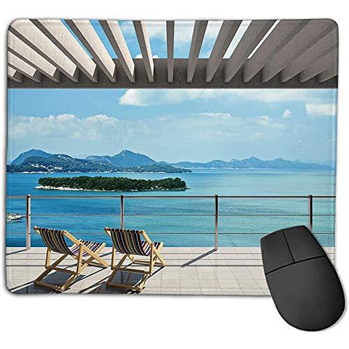 Muis Pad Pad Strand Thema Decor Moderne Tegel Dak Top Huis met Tuin en Uitzicht op Zee Afbeelding Bruin Wit Groen en Blauw Smoot