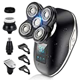 Head Shavers for Bald Men- 5 in 1 Wet Dry Electric Razor LED Cordless USB Rechargeable IPX6 Waterproof Rotary Bald Head Shaver Grooming Kit with Facial Beard Trimmer, Nose Hair Trimmer, Hair Clippers