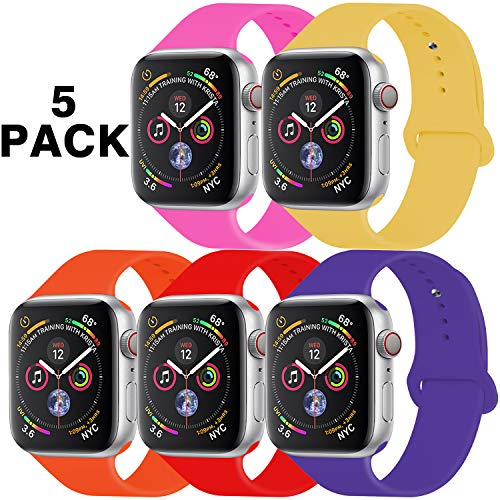 GZ GZHISY Pack 5 Sport Bands Compatible for Apple Watch Band 38mm 40mm, Soft Silicone Band Sport...