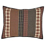 VHC Brands Rustic Beckham Cotton Hand Quilted Patchwork Striped Standard Bedding Accessory, Sham 21x27, Rust Red
