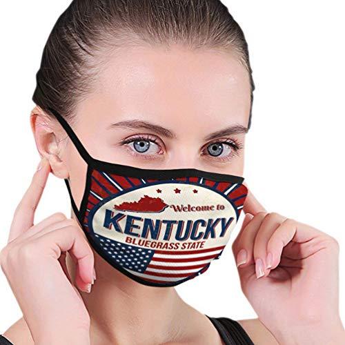 Atmungsaktive Premium Gesichtsschutzhülle,Willkommen Bei Kentucky Vintage Grunge Poster Illustrator Frauen Männer Anti Wind Staubschutz Schutzhülle Für Ski Radfahren Camping Reisesicherheit, Täglich