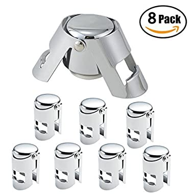 FUNJIA 8 Pack Stainless Steel Vacuum Champagne/Wine Sealer Bottle Stopper, Solid seal kept fresh