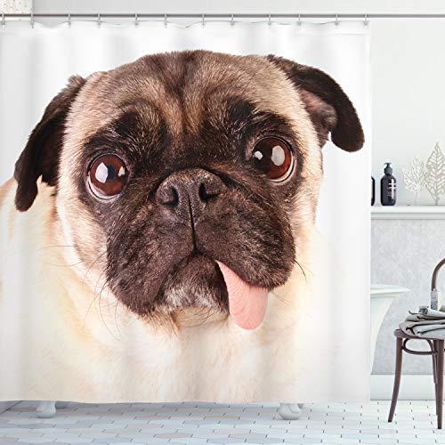 ABAKUHAUS Mops Duschvorhang, Umgekippter Hund Trauriges mit Augen Haustier, mit 12 Ringe Set Wasserdicht Stielvoll Modern Farbfest und Schimmel Resistent, 175x200 cm, Braun