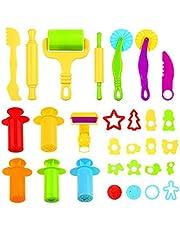 Ucradle Outils de Pâte À Modeler 29pcs Moules pour Argile pour Play doh Accessoires de Jouet de Pâte Smart Dough Tools avec Extrudeuses pour Enfants - Couleur Aléatoire