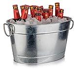 Buddy´s Bar - Getränkewanne, 11 Liter, Zinkwanne, Getränkekühler, mit Kunststoffeinsatz, hochwertiger Flaschenkühler aus verzinktem Edelstahl, 40 x 28 cm, Höhe 22 cm, mattiert