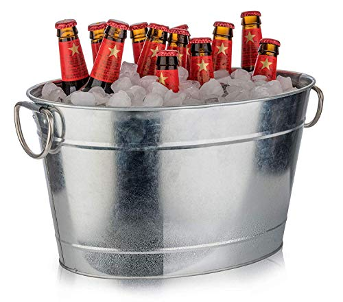 Buddy's Bar - Secchiello Ovale per Bevande, 11 Litri, Vasca di Zinco, glacette, raffreddatore per Bottiglie in Acciaio Inossidabile zincato, 40 x 28 cm, Altezza 22 cm, Effetto Opaco