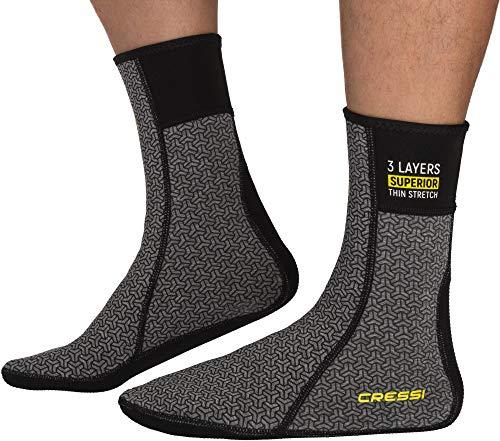 Cressi Thermal Undersuit Socks Calzado Térmico para Traje Seco, Unisex-Adult, Negro/Gris, L