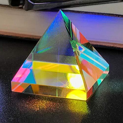 Cristal Prisma Pirámide Iridiscente Colores del Arco Iris Dispersión Prisma Multicolor Adorno de Escritorio Cristal Prisma Lente óptica Pirámide cristalina Múltiples Efectos de Material de Vidrio
