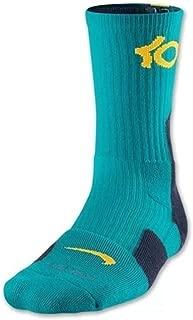Elite Men's KD Basketball Crew Socks Medium (Size 6-8) Black/Blue, Blue, Volt 447