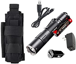 Klarus XT2CR Rechargeable Flashlight -CREE XHP35 HD E4 LED -1600 Lumens -Includes 3600mAh Battery w/USB Car +Wall Adaptor & Tactical Holster
