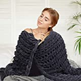 Chunky Knit Blanket - Super Soft Giant Hand Knit Wool Blanket 70 x 80 Inches - Large Warm Cozy Thick Yarn Cable Chenille Throw Blankets Perfect for Cuddling in Bed or Couch (Dark Grey)