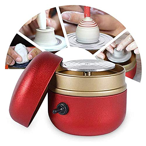 YFY Mini Keramikradmaschine, 1500 U/min Elektrischer Drehteller Fingerspitze DIY Tonwerkzeug mit Tablett für Erwachsene Kinder Keramik Kunst