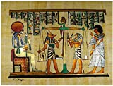 100% Authentic Egyptian Original Hand Painted Painting Papyrus Paper Pharaoh Ancient 12'x16' (30x40 cm) Anubis God of The Dead Horus Judgment Hieroglyphic Scroll History Pharaohs Papyri Hieroglyphics