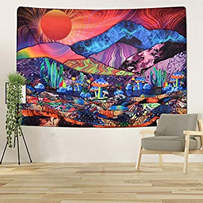 Psychedelic Trippy Tapestry Sunset Mountain Tapestry Colorful Mushroom Tapestry Hippie Bohemian Tapestry for Room(51.2 x 59.1 inches)