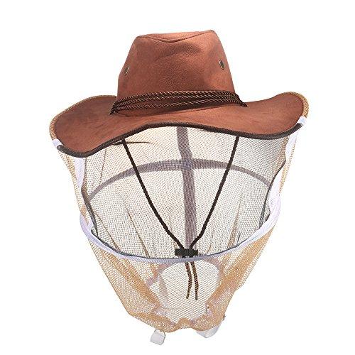 LKHF Cowboy Bee Hat Head-Face Protector sólido Anti-Capucha Sombrero Mascotas Cuerda de Perro iluminada Bolsa para Abeja Insecto Mosquito prevención