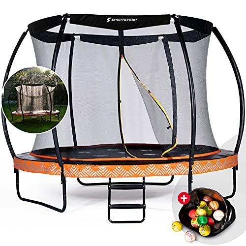 Sportstech Cama Elástica HTX500 | con aspersor de Agua de 360° + Bolas Multicolor | Juegos de Exterior - Trampolín para jardín - hasta 100 120 kg + Red de Seguridad | Ø 244 305 cm para niños