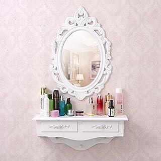 Espejo de tocador SZFMMY® montado en la pared cajón de almacenamiento cajón de madera estilo vintage.