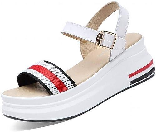 LTN Ltd - sandals Slope avec des Sandales à Plateforme pour Femmes Chaussures D'été pour Femmes Chaussures pour Femmes, Blanc, 40