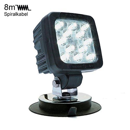 LED MARTIN® 50W werklamp met magnetische voet - 8m spiraalkabel - Europese productie - 2 jaar vervanging op garantie - bouwplaats - expediteur - voertuigbouw