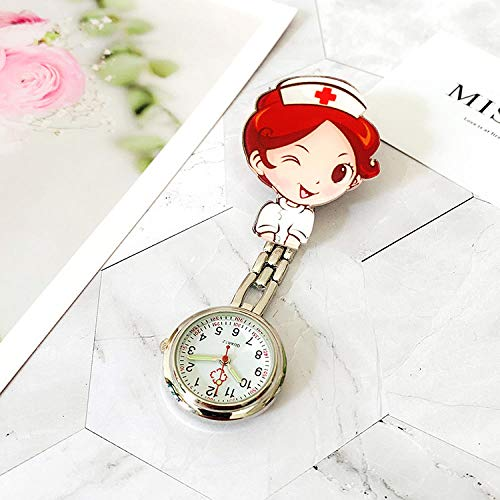 Cxypeng Tunic Brooch Pocket Watch,Luminous doctor and nurse watch, female clip waterproof chest pocket watch-CC,Doctor paramedic Brooch Watch