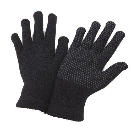 FLOSO - Gants extensibles avec accroches en PVC - Adulte unisexe (Taille unique) (Noir)