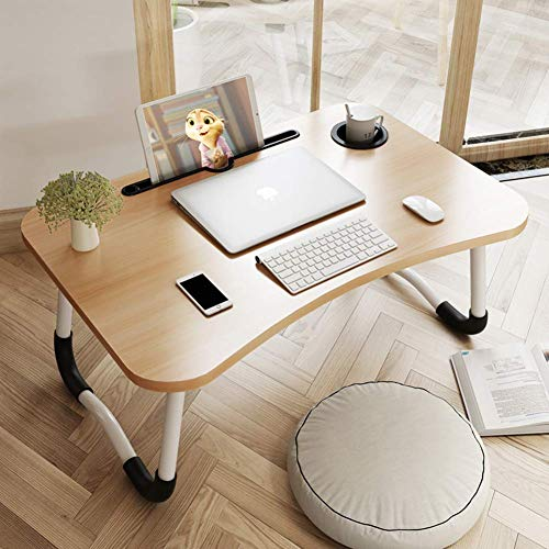 XIAO WEI Adjustable Laptop Bed Table Portable Lap Desk Bed Tray with Foldable Legs Cup Slot Tablet Groove Walnut 70x48x28cm