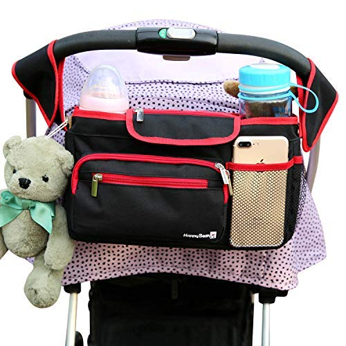Universal Stroller Organizer Bag with Cup Holders Fits for Stroller like Uppababy, Baby Jogger, Britax, Bugaboo, BOB, Umbrella,Caddy Parent Console and Pet Stroller Accessories