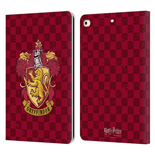 Official Harry Potter Gryffindor Checkered Crest Sorcerer's Stone I Leather Book Wallet Case Cover Compatible For Apple iPad 9.7 2017 / iPad 9.7 2018