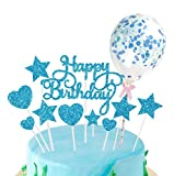 HongJing Happy Birthday Cake Topper, Stelle Cuori Topper Torta, Coriandoli Palloncino Topper Cake, per Matrimonio Compleanno Baby Shower Party Decorazioni per Torte di San Valentino (Blu)