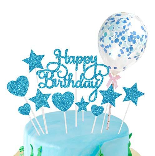 Topper Feliz Cumpleaños, Corazones Estrellas Cake Cupcake Topper, Globos de Confeti, para...