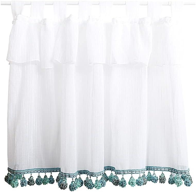 XJAXY Lace El Paso Mall Valance Curtain Cafe Industry No. 1 Tier Curtains Window Short Half