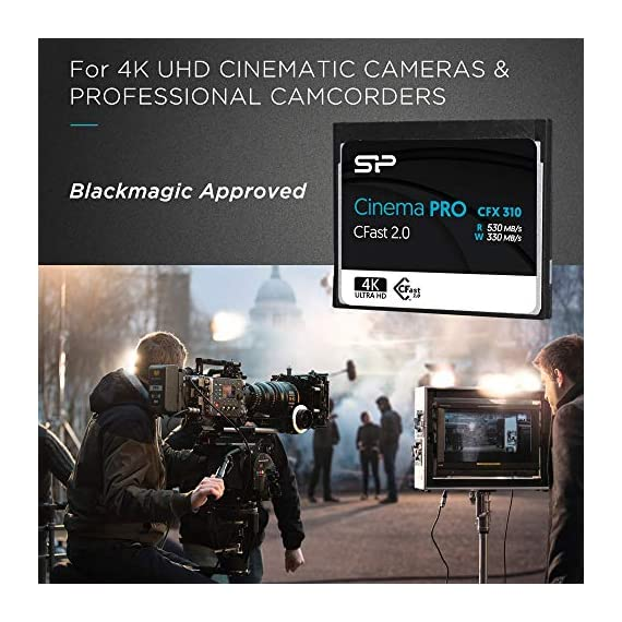 Silicon Power 128GB CFast2.0 CinemaPro CFX310 Memory Card, 3500X and up to 530MB/s Read, MLC, for Blackmagic URSA Mini… 5 EXCELLENT PERFORMANCE FOR 4K UHD CINEMATIC CAMERAS AND PROFESSIONAL CAMCORDERS- Designed for professional photographers and videographers, the CFX310 features superior performance that enables uninterrupted and cinema-quality 4K video recording. BLACKMAGIC APPROVED- Blackmagic approved and 2160p ProRes 422 HQ 60fps certified. The CFX310 delivers ultra-fast speed of up to 530 MB/s read that lets you quickly transfer large files from the card to your computer. MULTIPLE TECHNIQUES SUPPORTED - Supports Power Shield/ Global Wear-Leveling/ Advanced Garbage Collection/ TRIM /DEVSLP