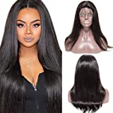 10'(25cm) Pelucas Mujer Pelo Natutal Full Lace Front Wig Human Hair Cabello Humano 100% Remy Brasileño Brazilian Lace Frontal Wigs with Baby Hair Straight (135g,Negro Natural)