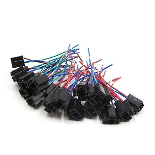 sourcing map 20Pcs H4 Conector Plástico 3 Cables Portalámparas de Bombilla Faro Antiniebla de Coche