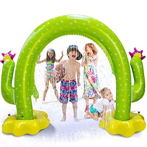 """Vimite Water Sprinkler for Kids, Cactus Kids Sprinkler for Yard,100""""X 65"""" Inflatable Sprinkler,Large Arch Toddler Sprinkler with Environmental Friendly PVC Material Outdoor Toys for Toddlers Big Kids"""