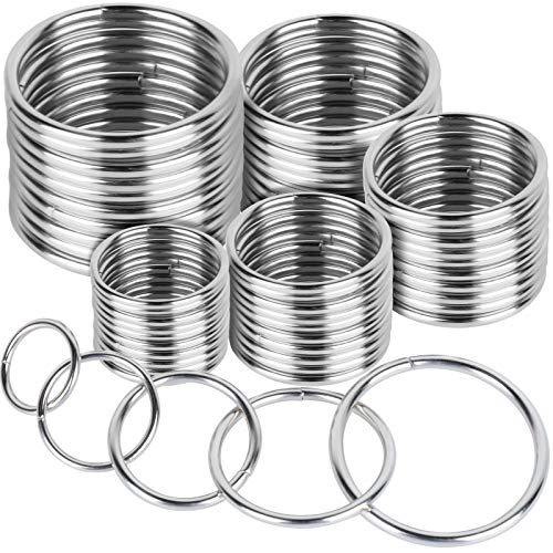 FANDAMEI 50 Pcs Silver Multi-Purpose Metal O Ring Non-Welded O Ring for Macrame, Camping Belt, Dog Leashes, Hardware, Bags and More Craft Project - 16mm, 21mm, 25mm, 32mm, 38mm