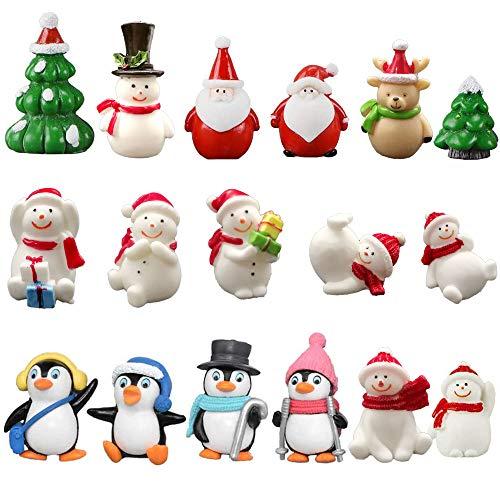 jenich 17 Stück Weihnachten Miniatur Ornamente Mini Weihnachten kleine Figuren Harz Garten Micro Landschaft Weihnachten Deko Puppenhaus Weihnachtsmann Schneemann Elch Tischdeko DIY