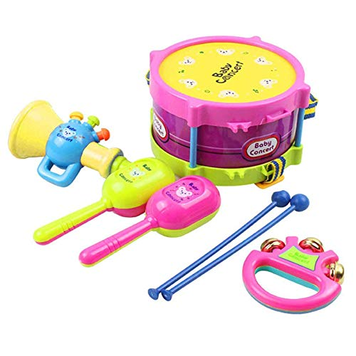 BOLOMI Baby Musical Drum Toys, Toddler Musical Instruments Shakers Percussion Tambourine Set for Preschool Kids
