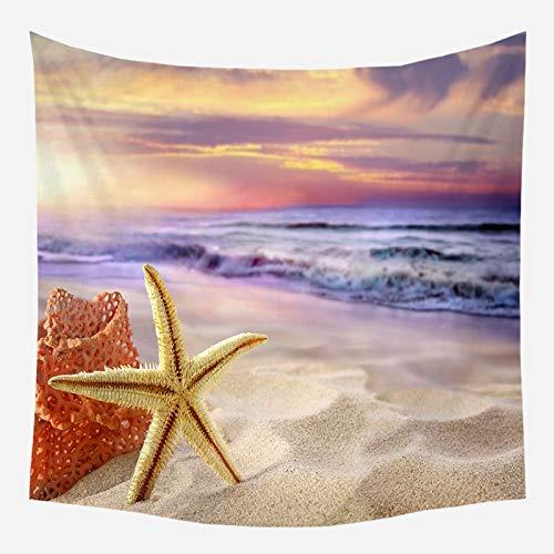 Tapiz de playa de mar árbol de coco tapiz para colgar en la pared estrella de mar manta de pared de playa colgante de pared tela de fondo para el hogar a7 150x200cm