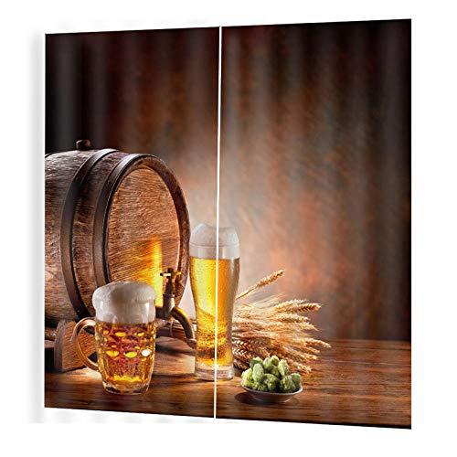 EZEZWSNBB Isolations Vorhänge Weizen und Bier 100% Polyester 3D Bedruckte Vorhänge Sonnenschutz Vorhänge Geräuschreduzierung Geeignet für Wohn Schlafzimmer 140 x 160 cm