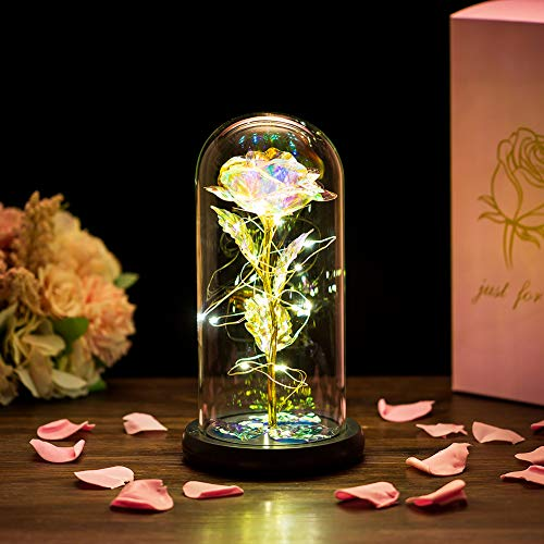 Glasseam La Bella E La Bestia Rosa in Cupola di Vetro con Luci A LED Bianche Calde Fiori di Cristallo Eterni Incantati per Sempre Regalo di Compleanno per Lei per L'anniversario